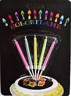 Свечи в торт 5 шт Разноцветное пламя