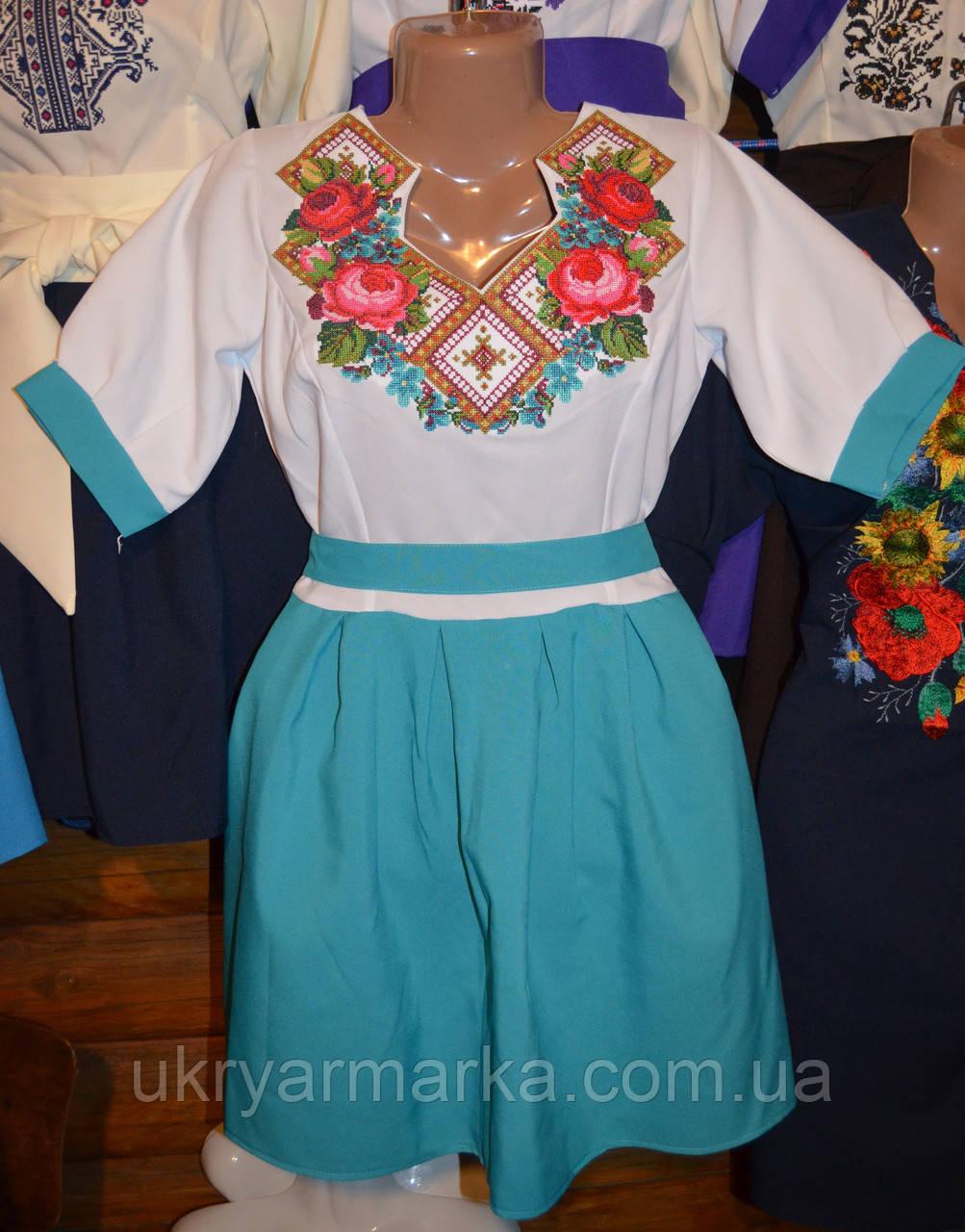 """Вишите плаття """"Грація"""" голубе"""