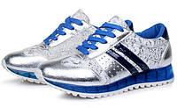 Трендовые женские кроссовки. Три цвета: синий, салатовый и оранжевый