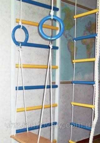 Веревочные качели для детей без ограничителей навесные на кольца, фото 2