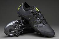 Кроссовки мужские Adidas X 15.1 FG Black (в стиле адидас) черные