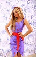 Платье Летнее льняное на запах фиолет вышивка гладью