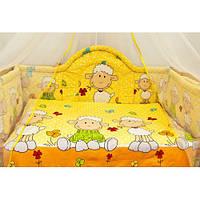 Защита цельная в кроватку новорожденного- Барашек