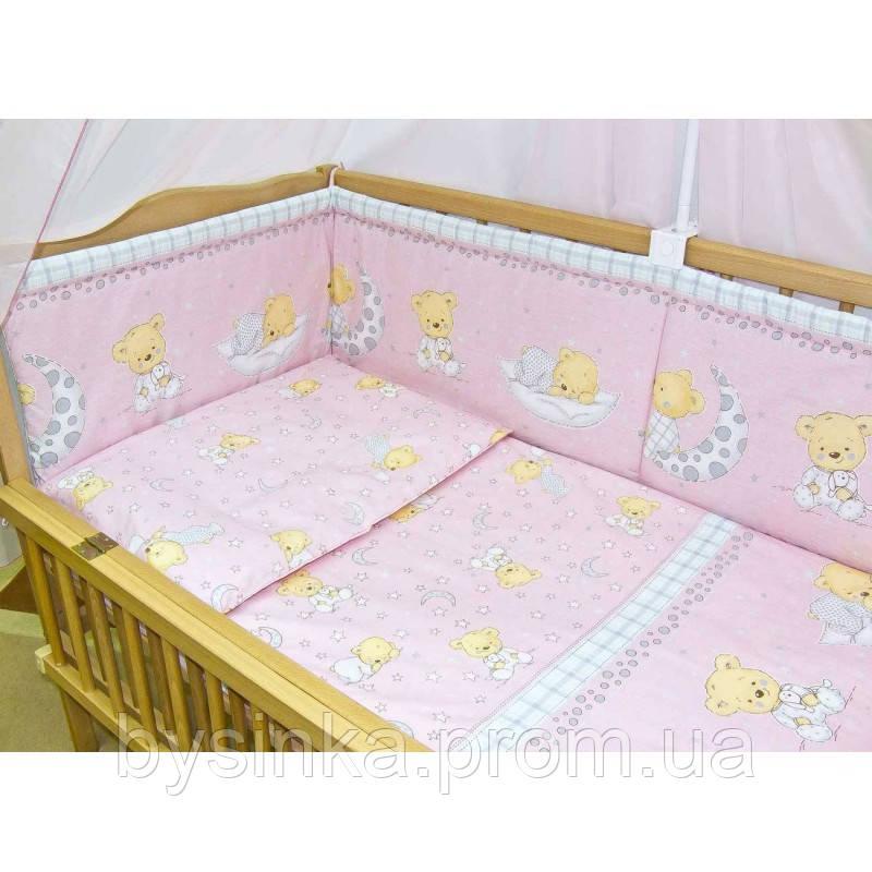 Бортики, бампер в кроватку детскую-Мишка на подушке