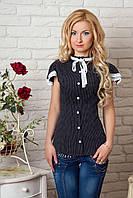 Женская рубашка черного цвета с коротким рукавом, украшена кружевом. 44, Черный