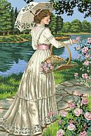 Рисунок на канве для вышивки нитками мулине 01143 Дама с зонтиком