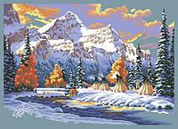 Рисунок на канве для вышивки нитками мулине 01163 Первый снег
