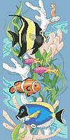 Рисунок на канве для вышивки нитками мулине 02153 Морские рыбки