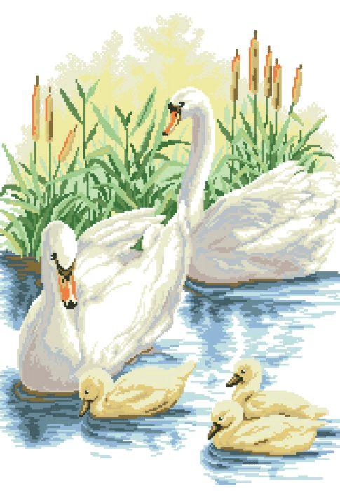 Рисунок на канве для вышивки нитками мулине 40643 Лебеди