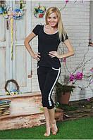 Костюм женский футболка с бриджами черный, фото 1