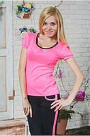 Костюм женский футболка с бриджами розовый