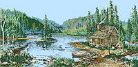 Рисунок на канве для вышивки нитками мулине 62433 Дом у лесного озера