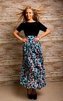 Комбинированное длинное платье с поясом-бантом