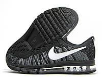 Кроссовки мужские Nike Air Max Flyknit черные с серым (найк аир макс флайнит)