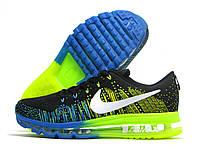 Кроссовки мужские Nike Air Max Flyknit черные с голубым/желтым (найк аир макс флайнит)