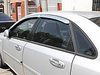 Дефлекторы окон (ветровики) хромированые на Шевроле Лачетти седан с 03-13 (клей) 4-шт. Корея.