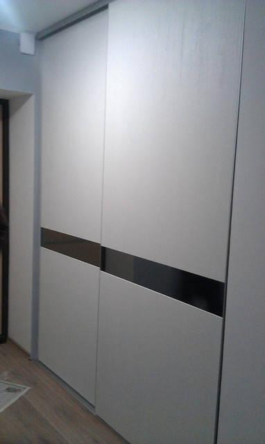 Раздвижные двери, система Slim, зеркало графит, ДСП Cleaf 8 мм