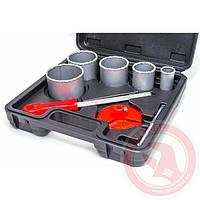 Набор корончатых сверл для плитки 5 ед., вольфрамовое напыление + напильник и чемодан INTERTOOL SD-0428