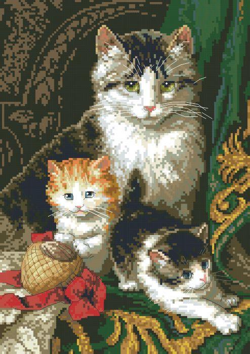 Рисунок на канве для вышивки нитками 10144 Кошка с котятами