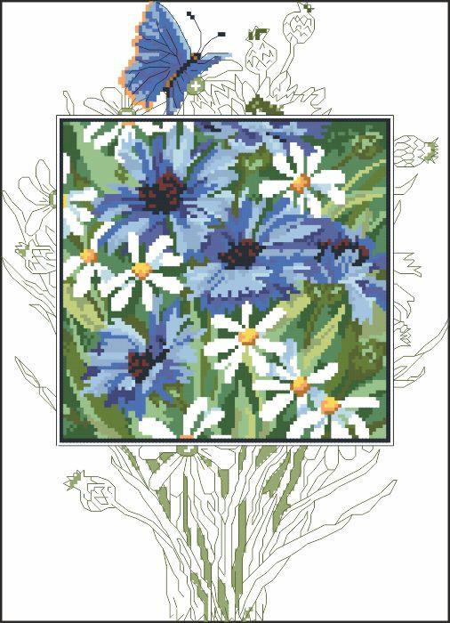 Рисунок на канве для вышивки нитками 52204 Васильки