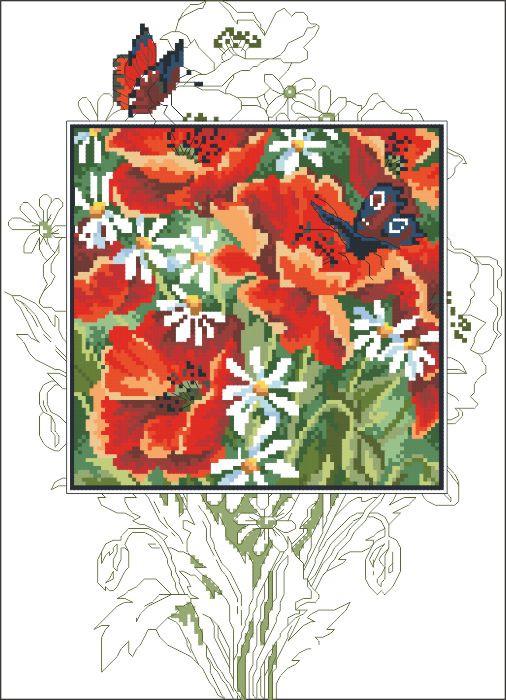 Рисунок на канве для вышивки нитками 52224 Маки