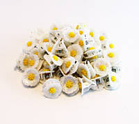 Заколка для волос крабик белый цветок пластик-100 шт.- 1,9 см.