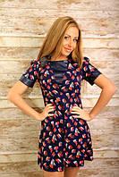 Свободное платье с кожаными вставками мод.173