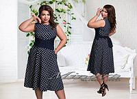 Женское клешное платье в горох, размер 48,50,52,54