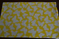 Наволочка детская 40*60 на молнии серо - желтого цвета с бабочками