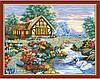 """Картина по номерам (раскраска) на холсте """"Домик у реки с лебедями"""",  MG197, 40х50см."""