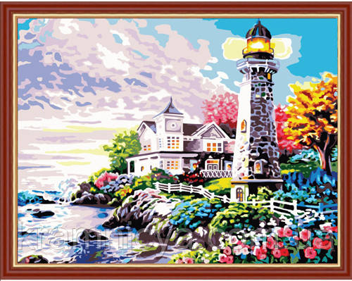 """Картина раскраска по номерам на холсте """"Дом у маяка"""", 40х50см. (MG192, КН192)"""