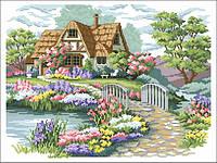 Рисунок на канве для вышивки нитками 01032 Дом у пруда