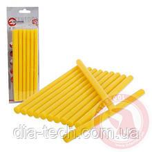 Комплект жовтих клейових стрижнів 11,2 мм x 200 мм, 12 шт. INTERTOOL RT-1021