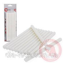 Комплект білих клейових стрижнів 11,2 мм x 200 мм, 12 шт. INTERTOOL RT-1022
