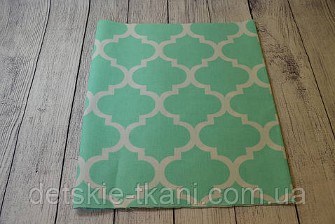 Лоскут ткани №48  марокко, мятного цвета