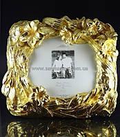 Рамка для фото золотая Цветы