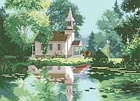 Рисунок на канве для вышивки нитками 61282 Дом у озера