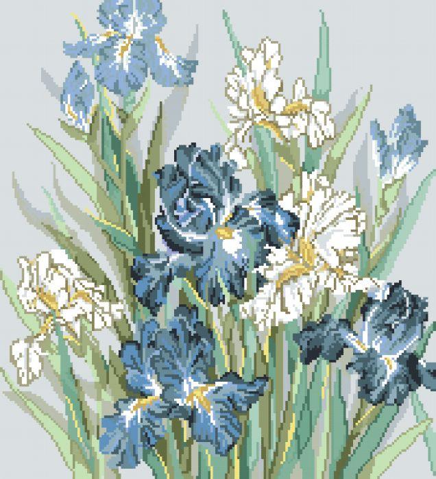 Рисунок на канве для вышивки нитками 62342 Синие ирисы