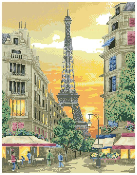 Рисунок на канве для вышивки нитками 81992 Улица Парижа