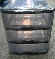 Комод пластиковый канцелярский А4, серо-черный