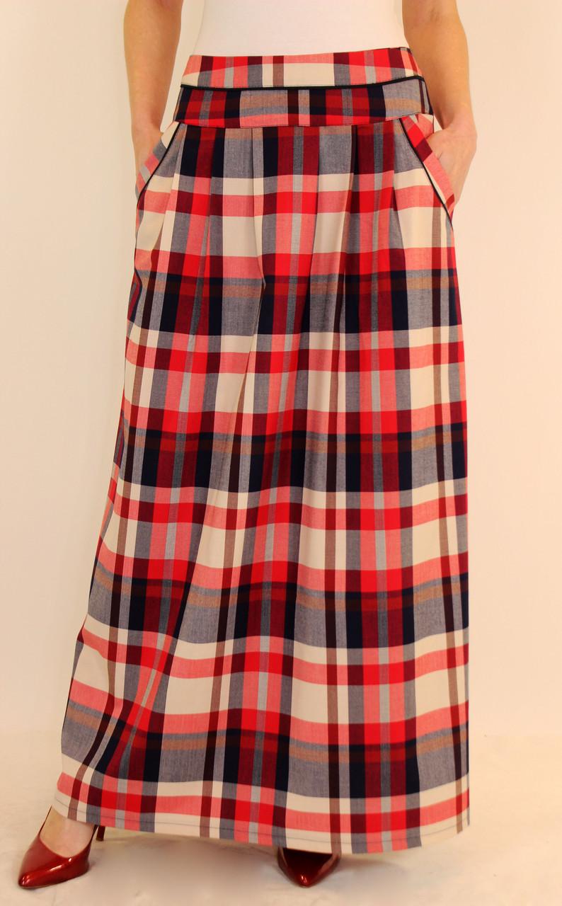 Длинная юбка в красную клетку 44-52 р