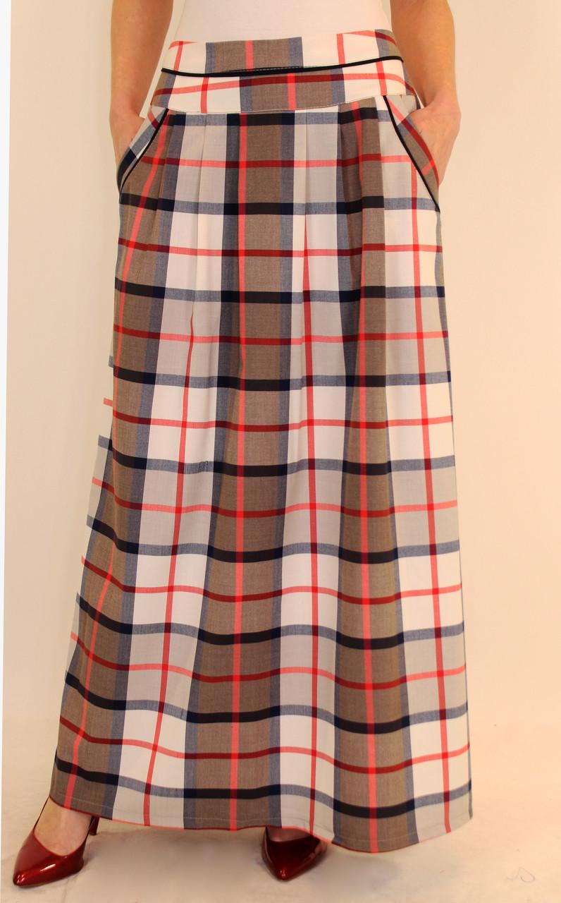 Длинная клетчатая юбка из костюмной ткани 44-52 р