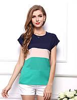 Блуза женская с короткими рукавами / Футболка шифоновая синяя, бежевая, зеленая