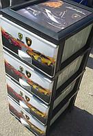 -Комод пластиковый Еlif, с рисунком Машинки Ferrari и Lamborghini. Производство Турция.