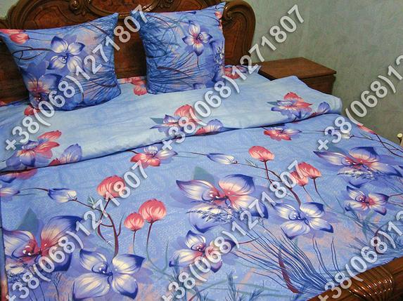 Постельное белье Голубые цветы ранфорс полуторный комплект, фото 2