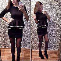 Женское платье с баской черное ВФ-80