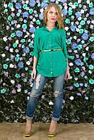 Рубашка с поясом зеленая из хлопка