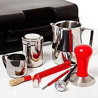 Комплект аксессуаров бариста в чемодане (красный)