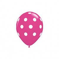 Шар воздушный розовый в горошек 14 дюймов