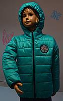 Демисезонная куртка детская, бирюза/темно-синий, размеры: 116 см
